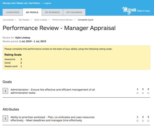 Performance review rating scale live in MyHR